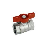"""Повнопрохідний кульовий клапан з червоною Т-ручкою, хром, внутрішня різьба 1"""" Giacomini арт. R851X025"""