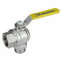 """Повнопрохідний кутовий кульовий клапан з жовтою L-ручкою, зовнішня і внутрішня різьба 1/2"""" Giacomini арт. R780LX003"""